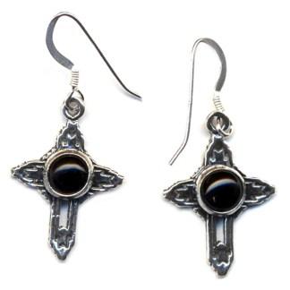 Small Cross Drop Earrings Black Onyx Stone Sterling Silver