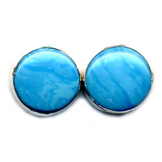 Round Shaped Larimar Light Blue Stone Sterling Silver .925 Post Earrings