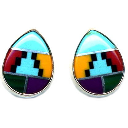 Teardrop Navajo Multicolor Genuine Stones Inlay Sterling Silver Post Earrings