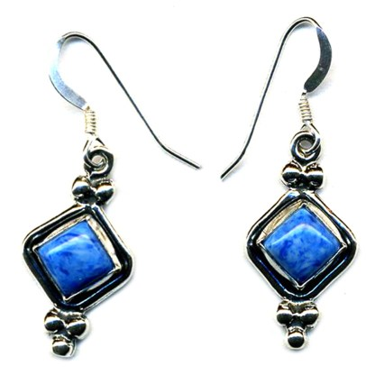Beaded Diamond Shape Earrings Genuine Lapis Lasuli Sterling Silver