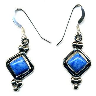 Beaded Diamond Shape Earrings Genuine Lapis Lasuli Sterling Silver