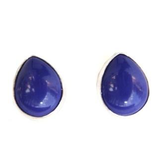 Genuine Lapis Lazuli Bezel Set Sterling Silver Teardrop Post Earrings