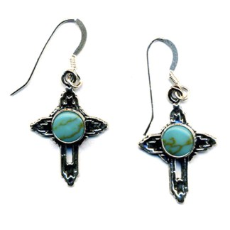 Small Cross Drop Earrings Turquoise Stone Sterling Silver