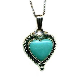 Genuine Turquoise Blue Heart SILVER 925 Necklace 18""