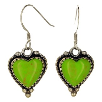 Large Genuine Heart Shape Stone  Western Sterling Silver Drop Earrings Gaspeite