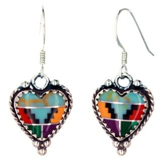 Large Genuine Heart Shape Stone  Western Sterling Silver Drop Earrings Indian Multi Inlay