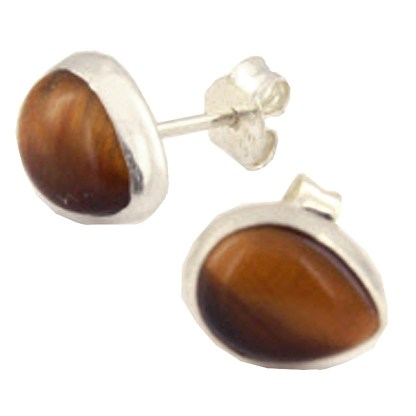 Sterling Silver Teardrop Post Earrings Genuine Cabochon Stone Tigers Eye