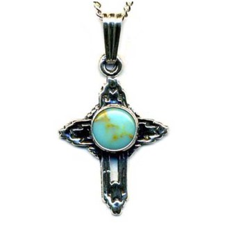 Small Cross Charm Necklace Genuine Blue Turquoise Stone