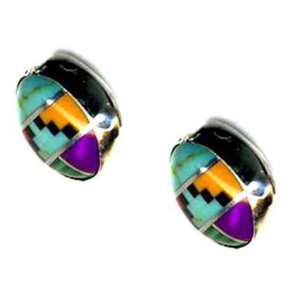 8 mm Round Post Earrings Navajo Multicolor Inlay Genuine Stone Sterling Silver