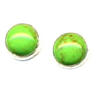 Genuine Gaspeite 8 mm Round Post Earrings Good Fortune Stone