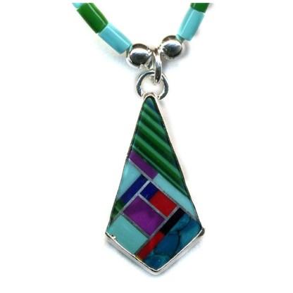 Large Navajo Multicolor Sterling Silver Necklace