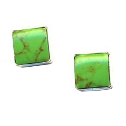 Genuine Gaspeite 8 mm Round Post Earrings Good Fortune Stone Sterling Silver