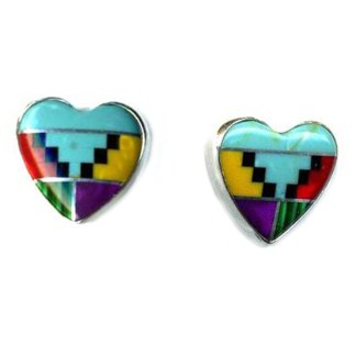 Large Navajo Multicolor Genuine Stones Inlay 10 mm Heart Post Earrings Sterling Silver