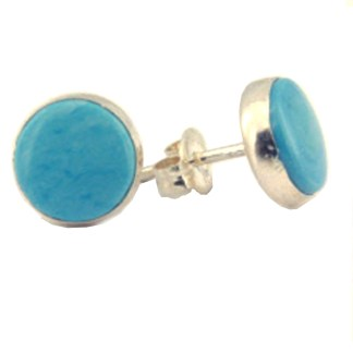 Sterling Silver Round Post Earrings Genuine Cabochon Stone Larimar