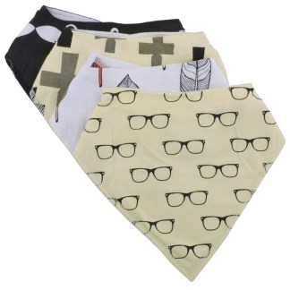 Baby Bandana Drool Bib Organic Absorbent Cotton Gift Set of 4 by Fashionista Babies Hipster Baby