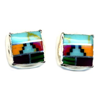 6mm Rounded Navajo Multicolor Genuine Stones Inlay Sterling Silver Post Earrings