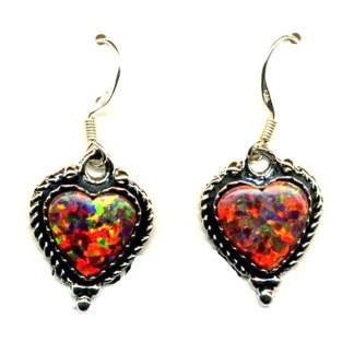 Red Fire Opal Heart Sterling Silver Earrings