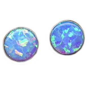 OPAL Blue Earrings 6mm Round S SILVER 925