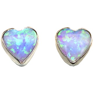 Heart & Love Blue Sparkly Fire Opal Stone Sterling Silver Post Earrings 6 MM