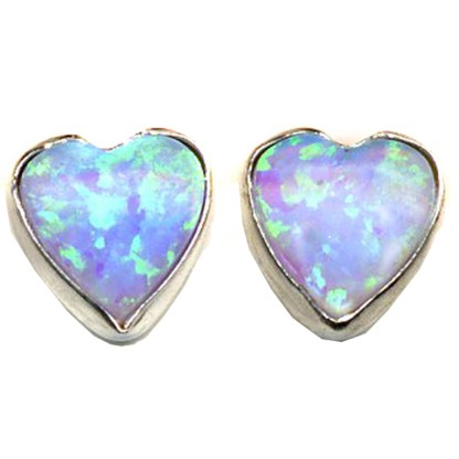 Heart & Love Blue Sparkly Fire Opal Stone Sterling Silver Post Earrings 6 MM