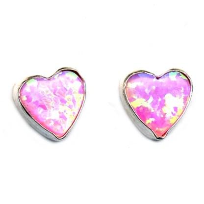 6 mm Heart Shaped Pink Opal Stone Sterling Silver .925 Stud Post Earrings