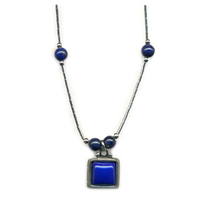 "Liquid Sterling Silver Square Beaded Necklace Genuine Lapis Lasuli Handmade 18"""