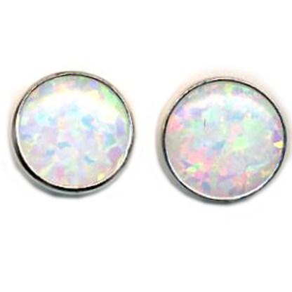 OPAL WHITE Earrings 8mm Round S SILVER 925