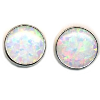 OPAL WHITE Earrings 8mm Round S SILVER 925