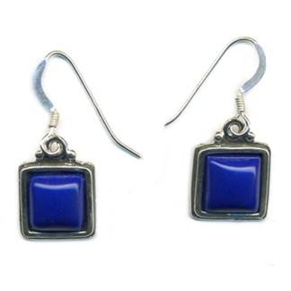 10mm Genuine Lapis Lasuli Sterling Silver Square Drop Earrings Friendship Stone