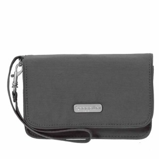Baggallini RFID Wristlet Wallet with Flap  Charcoal