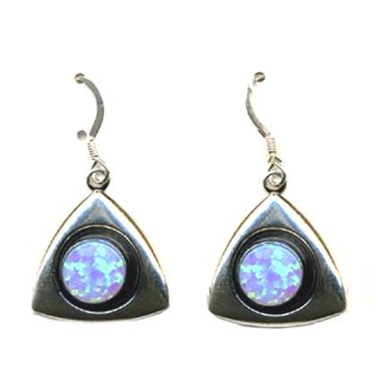 Sterling Silver 925 Southwest Triangle Drop Earrings Blue Fire Opal Stone