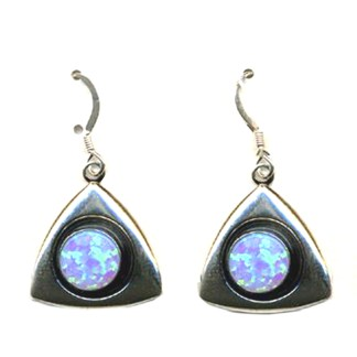 Sterling Silver 925 Southwest Triangle Drop Earrings Blue Fire Opal Stone
