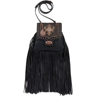 American West Bandana  Crossbody Fringe Organizer Bag   Black Winslow