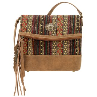 American West Bandana Multicompartment Crossbody Organizer Handbag Brown  Serape