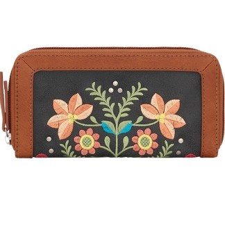 American West Bandana Ladies Zip Around Wallet  Charcoal Maya
