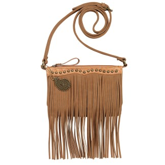 American West Bandana  Crossbody Fringe Organizer Bag    Tan  Sun Valley