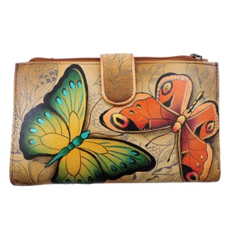 Anuschka Large Smart Phone Case & Wallet Bag Genuine Handpainted Leather Earth Strong