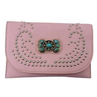 American Bling Clutch Crossbody Shoulder Handbag Built in Wallet Pink Concho
