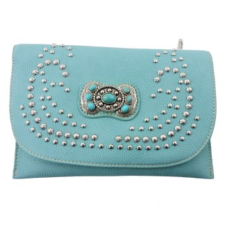 American Bling Clutch Crossbody Shoulder Handbag Built in Wallet Blue