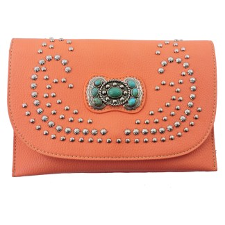American Bling Clutch Crossbody Shoulder Handbag Built in Wallet Orange