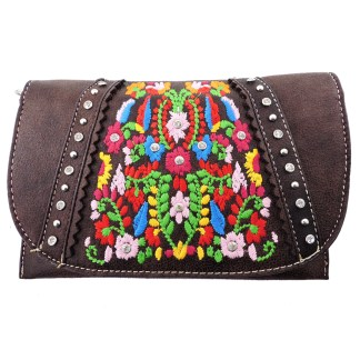 American Bling Clutch Crossbody Shoulder Handbag Built in Wallet Coffee Floral