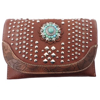 American Bling Clutch Crossbody Shoulder Handbag Built in Wallet Brown Studded