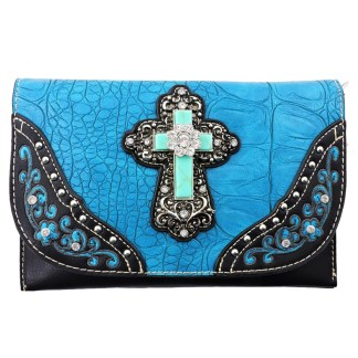 American Bling Clutch Crossbody Shoulder Handbag Built in Wallet Turquoise Cross
