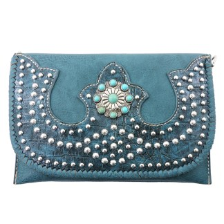 American Bling Clutch Crossbody Shoulder Handbag Built in Wallet Turquoise Bling