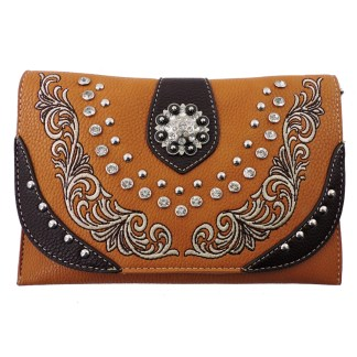 American Bling Clutch Crossbody Shoulder Handbag Built in Wallet Brown Black
