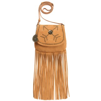 American West Bandana Austin Fringe Crossbody Bag Crossing Arrows Tan