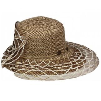Silver Fever ® Women Summer Fancy Sun Hat Fits All  Khaki