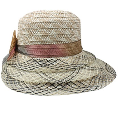 Silver Fever ® Women Summer Fancy Sun Hat Fits All Beige Black Mix