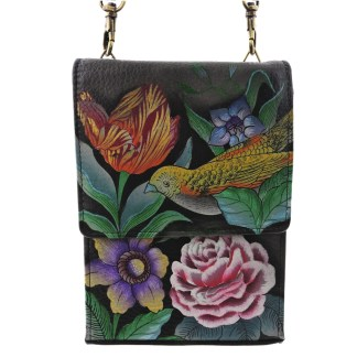 Anuschka Roomy Mini Sling Organizer Cross Body Traveler Hand Painted Vintage Bouquet