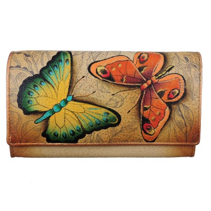 Anuschka RFID Two Fold French Wallet Genuine Handpainted Leather Earth Song
